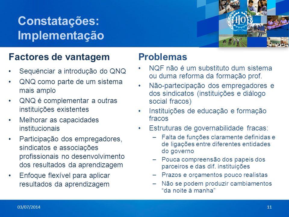 Constatações: Implementação