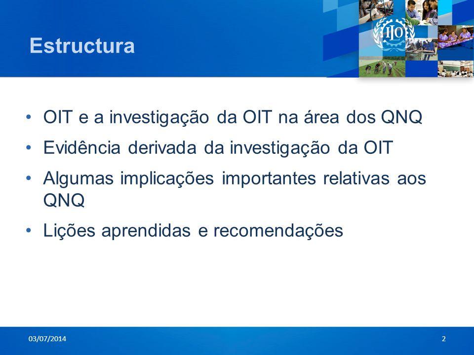 Estructura OIT e a investigação da OIT na área dos QNQ