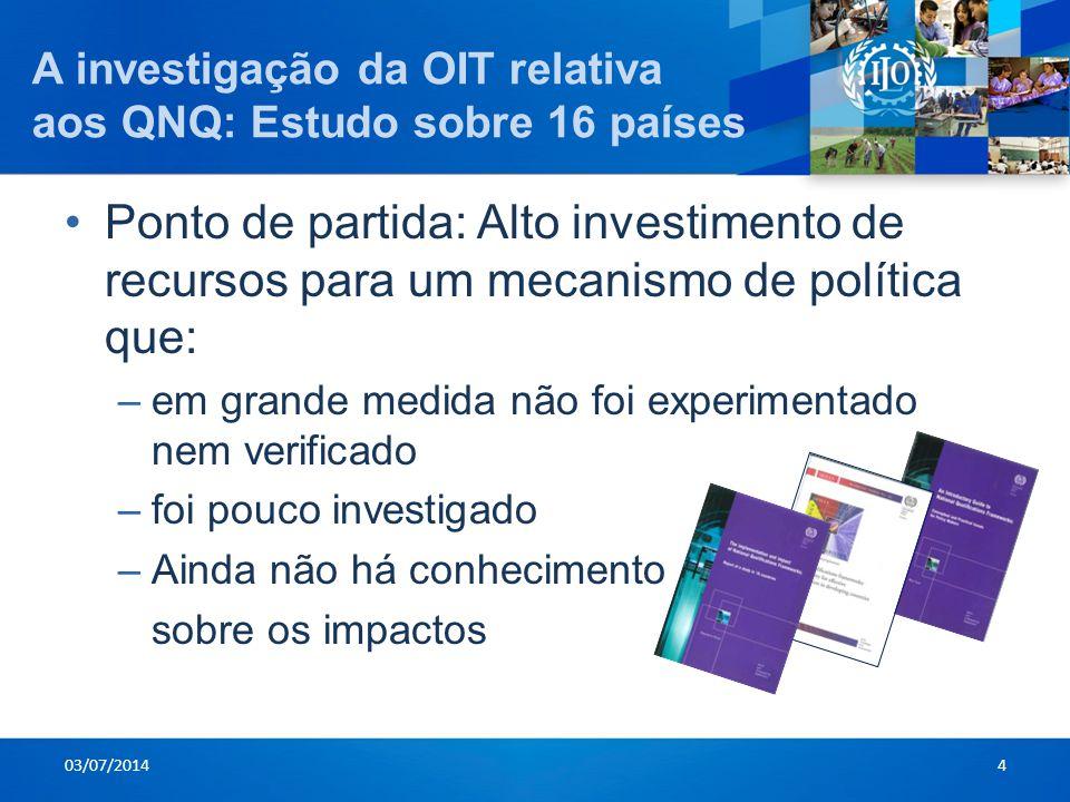 A investigação da OIT relativa aos QNQ: Estudo sobre 16 países