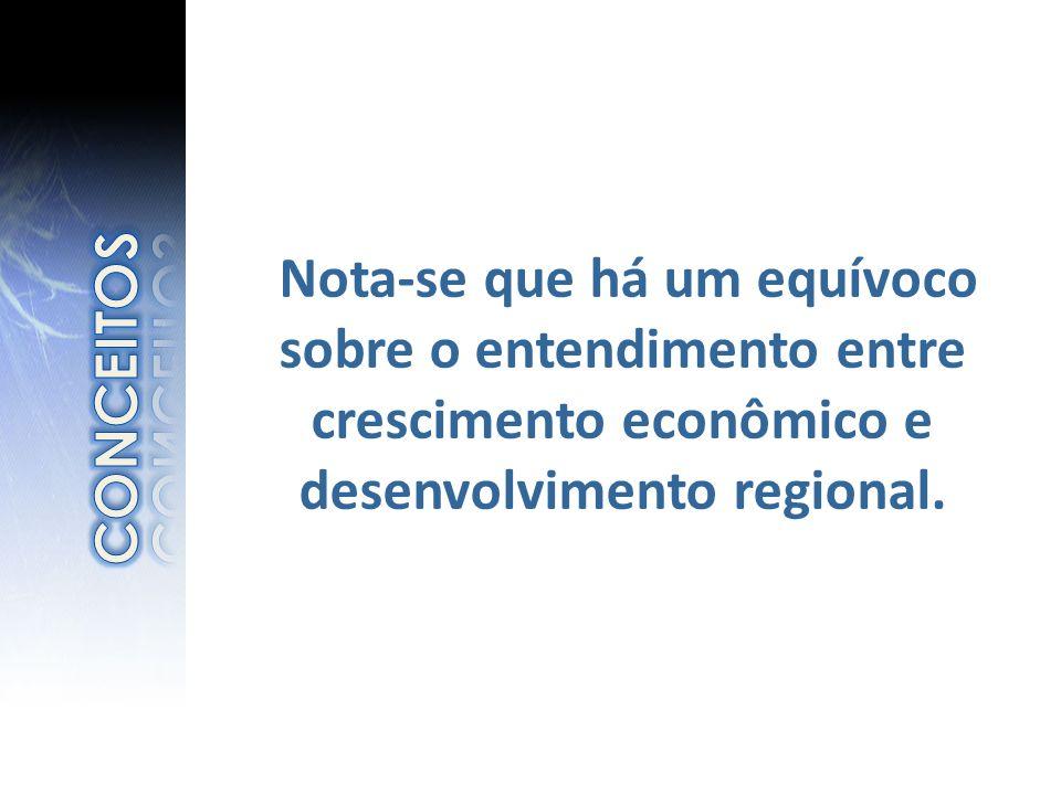 Nota-se que há um equívoco sobre o entendimento entre crescimento econômico e desenvolvimento regional.