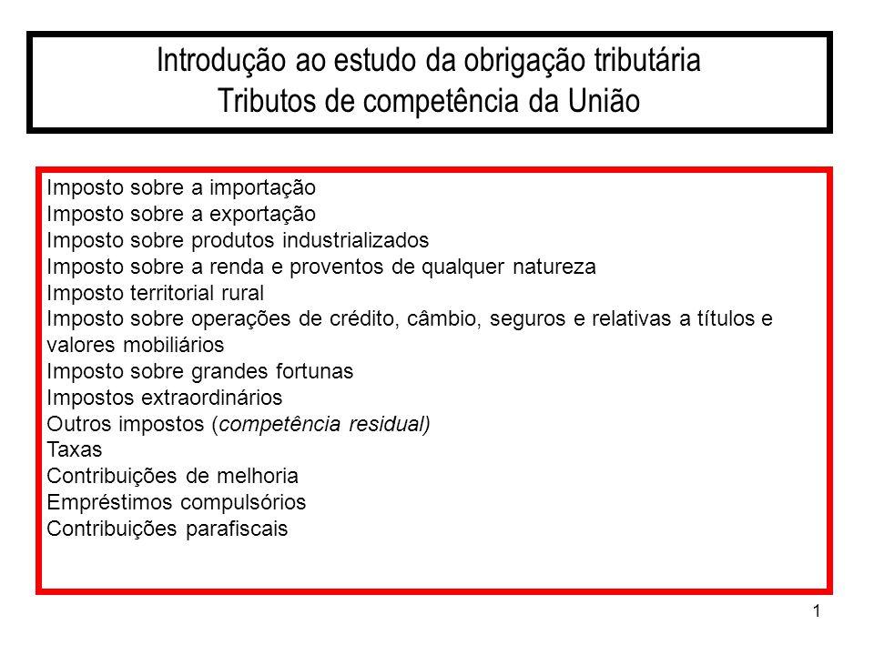 Introdução ao estudo da obrigação tributária