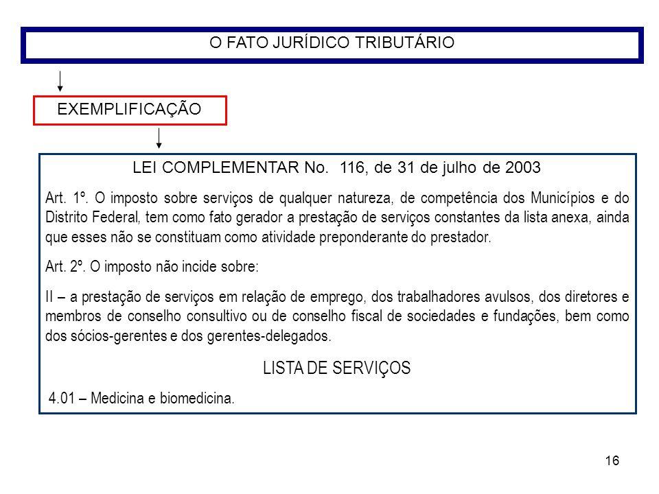 LISTA DE SERVIÇOS O FATO JURÍDICO TRIBUTÁRIO EXEMPLIFICAÇÃO