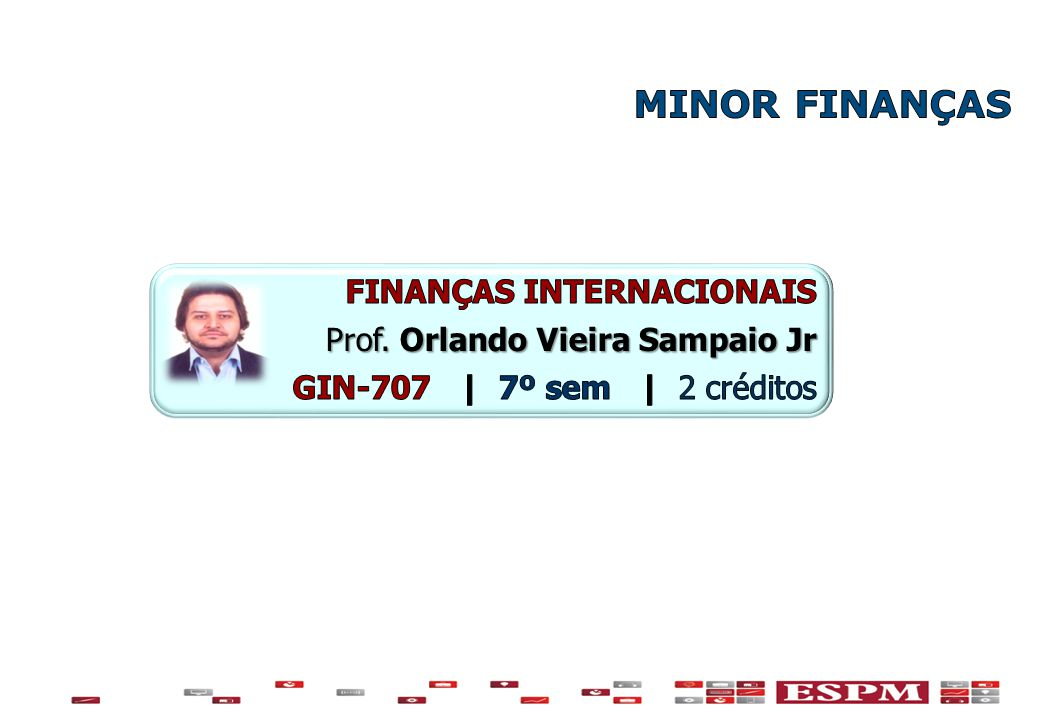 MINOR FINANÇAS FINANÇAS INTERNACIONAIS Prof. Orlando Vieira Sampaio Jr