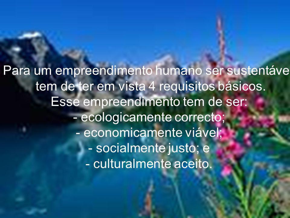 Para um empreendimento humano ser sustentável,
