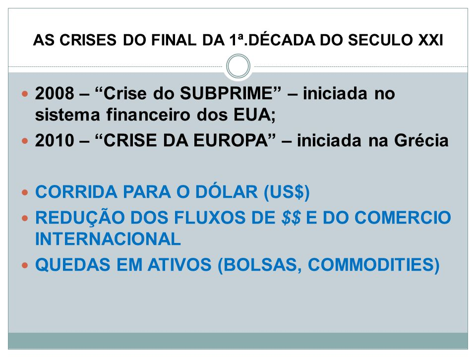 AS CRISES DO FINAL DA 1ª.DÉCADA DO SECULO XXI