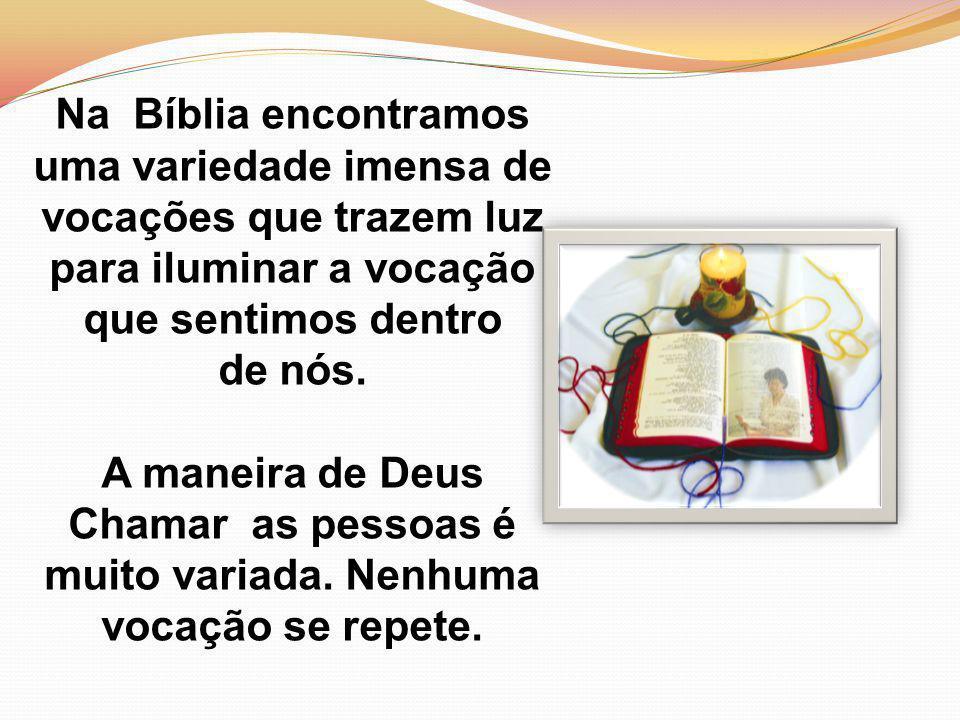 Na Bíblia encontramos uma variedade imensa de vocações que trazem luz para iluminar a vocação que sentimos dentro