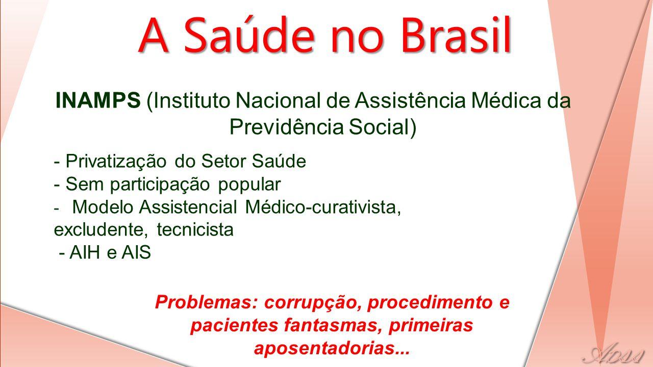 A Saúde no Brasil INAMPS (Instituto Nacional de Assistência Médica da Previdência Social) - Privatização do Setor Saúde.