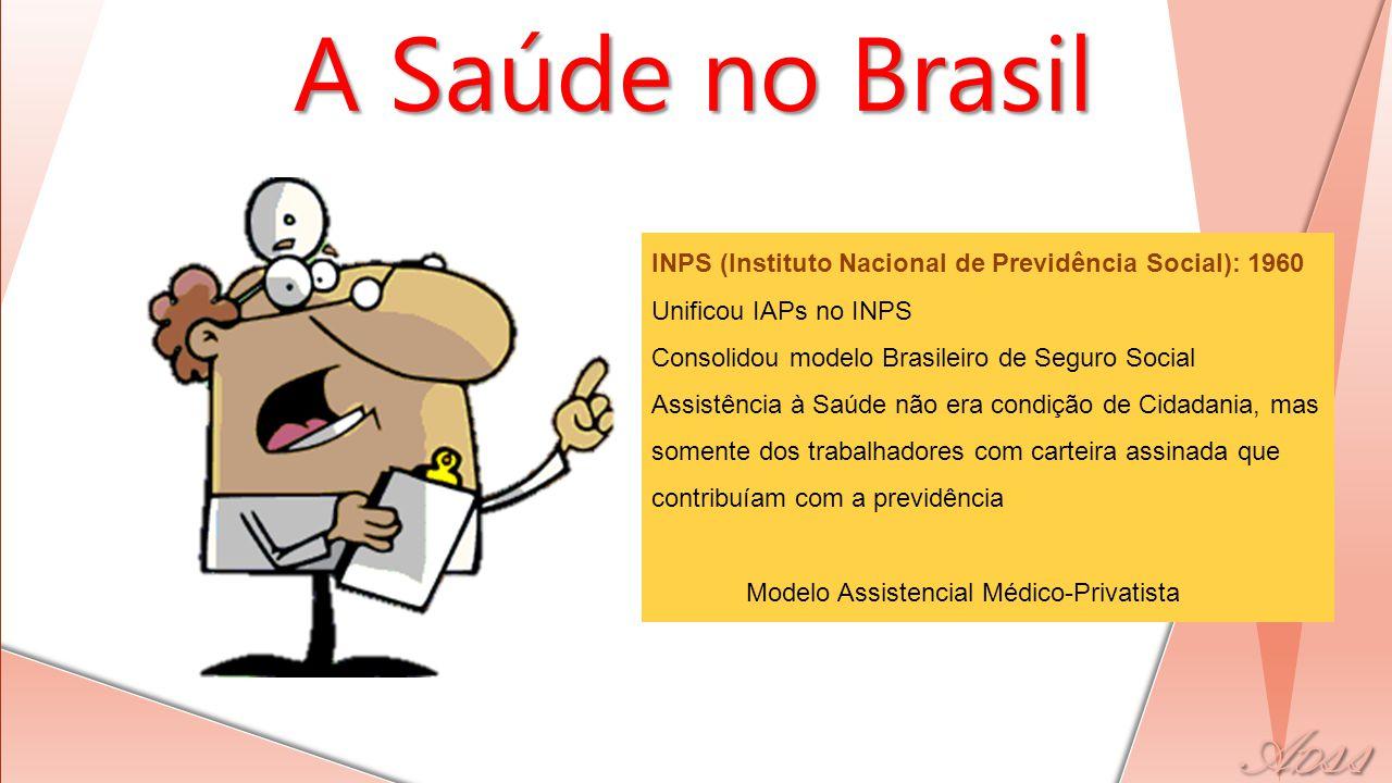 A Saúde no Brasil INPS (Instituto Nacional de Previdência Social): 1960. Unificou IAPs no INPS. Consolidou modelo Brasileiro de Seguro Social.