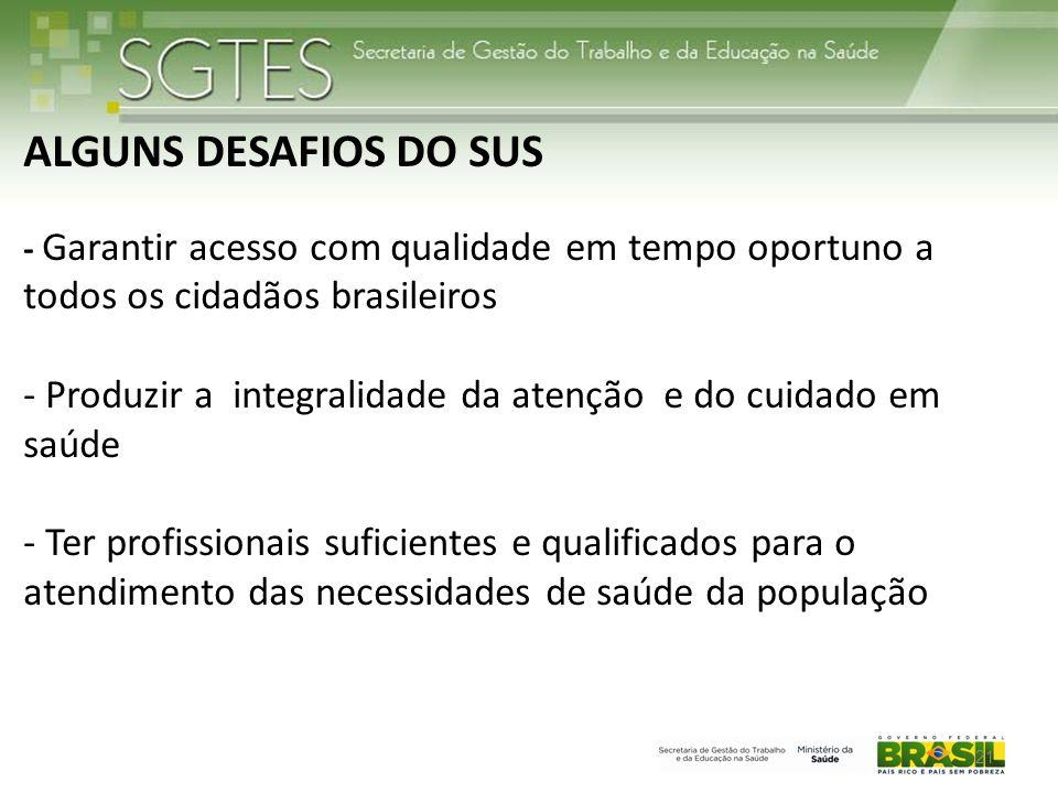 ALGUNS DESAFIOS DO SUS - Garantir acesso com qualidade em tempo oportuno a todos os cidadãos brasileiros - Produzir a integralidade da atenção e do cuidado em saúde - Ter profissionais suficientes e qualificados para o atendimento das necessidades de saúde da população