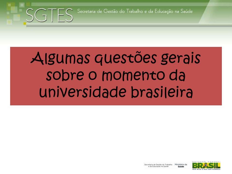 Algumas questões gerais sobre o momento da universidade brasileira