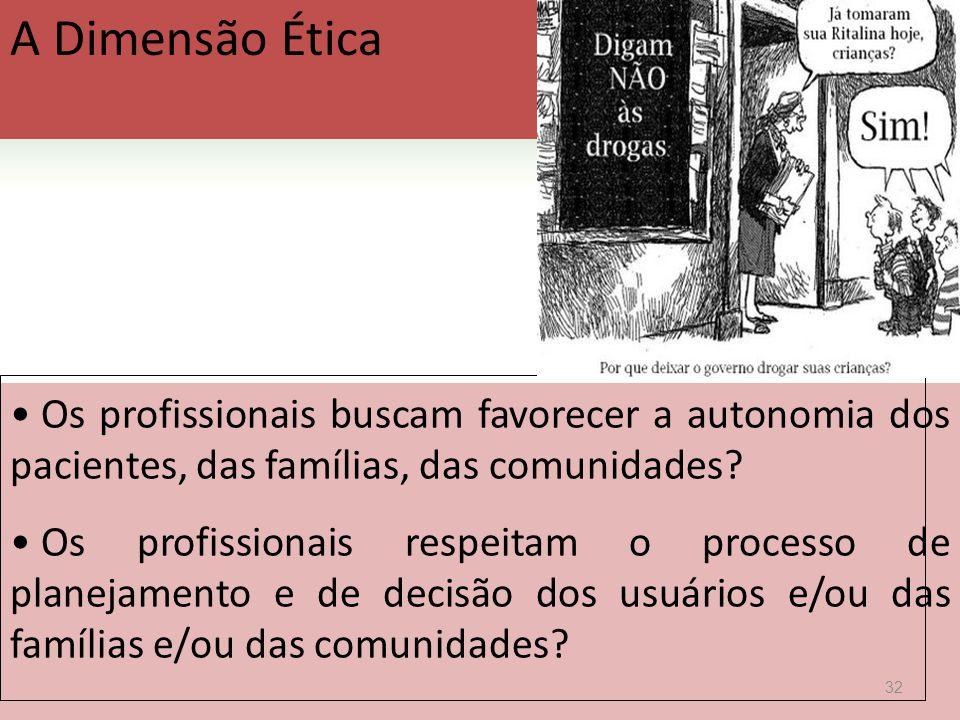 A Dimensão Ética  Os profissionais buscam favorecer a autonomia dos pacientes, das famílias, das comunidades