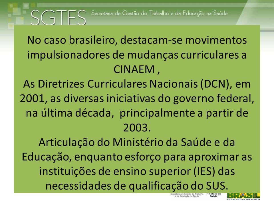 No caso brasileiro, destacam-se movimentos impulsionadores de mudanças curriculares a CINAEM , As Diretrizes Curriculares Nacionais (DCN), em 2001, as diversas iniciativas do governo federal, na última década, principalmente a partir de 2003.