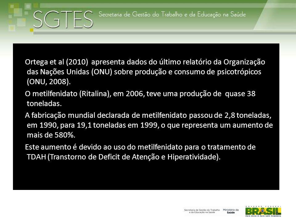 Ortega et al (2010) apresenta dados do último relatório da Organização das Nações Unidas (ONU) sobre produção e consumo de psicotrópicos (ONU, 2008).