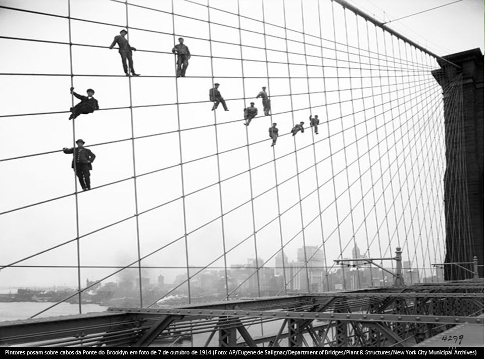 Pintores posam sobre cabos da Ponte do Brooklyn em foto de 7 de outubro de 1914 (Foto: AP/Eugene de Salignac/Department of Bridges/Plant & Structures/New York City Municipal Archives)