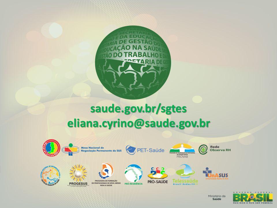 saude.gov.br/sgtes eliana.cyrino@saude.gov.br