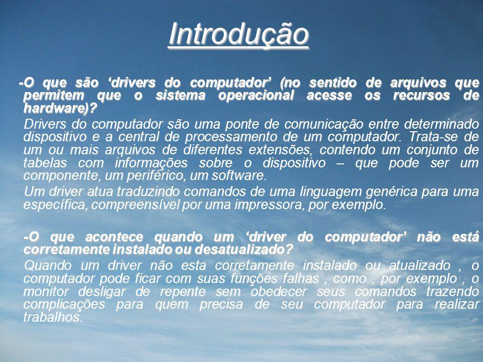 Introdução -O que são 'drivers do computador' (no sentido de arquivos que permitem que o sistema operacional acesse os recursos de hardware)