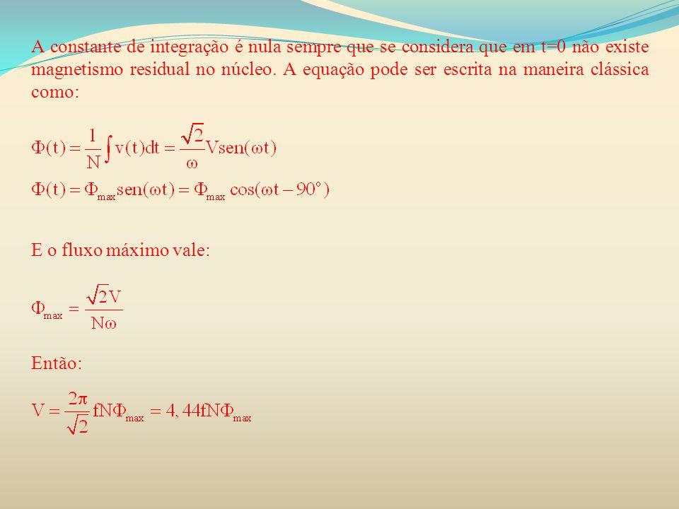 A constante de integração é nula sempre que se considera que em t=0 não existe magnetismo residual no núcleo. A equação pode ser escrita na maneira clássica como: