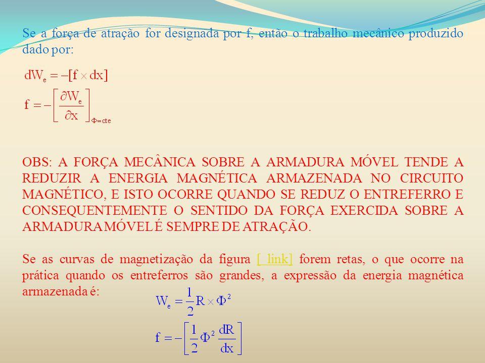 Se a força de atração for designada por f, então o trabalho mecânico produzido dado por: