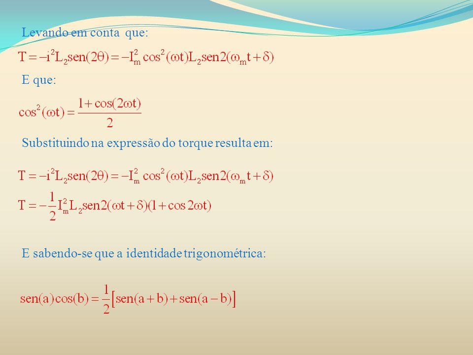 Levando em conta que: E que: Substituindo na expressão do torque resulta em: E sabendo-se que a identidade trigonométrica: