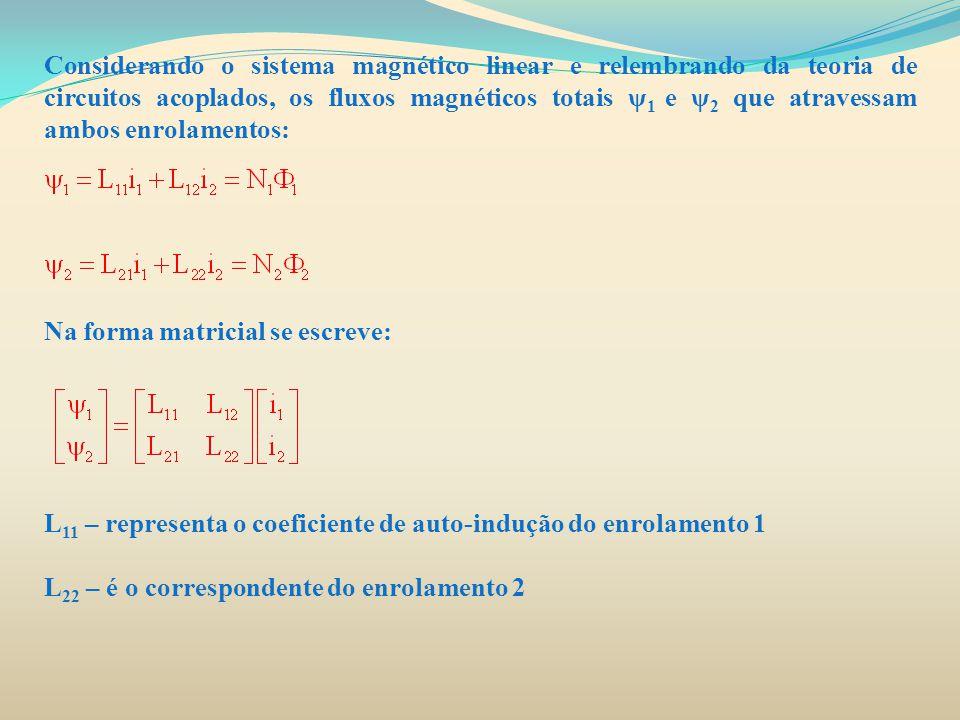 Considerando o sistema magnético linear e relembrando da teoria de circuitos acoplados, os fluxos magnéticos totais ψ1 e ψ2 que atravessam ambos enrolamentos: