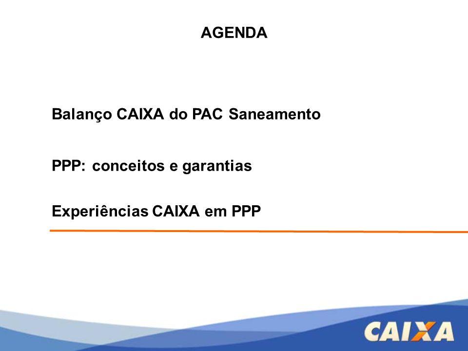AGENDA Balanço CAIXA do PAC Saneamento PPP: conceitos e garantias Experiências CAIXA em PPP