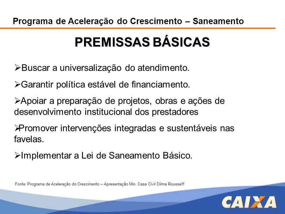 PREMISSAS BÁSICAS Buscar a universalização do atendimento.