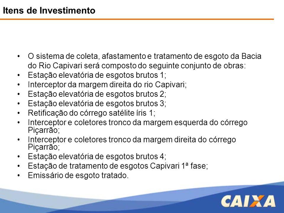 Itens de Investimento O sistema de coleta, afastamento e tratamento de esgoto da Bacia do Rio Capivari será composto do seguinte conjunto de obras: