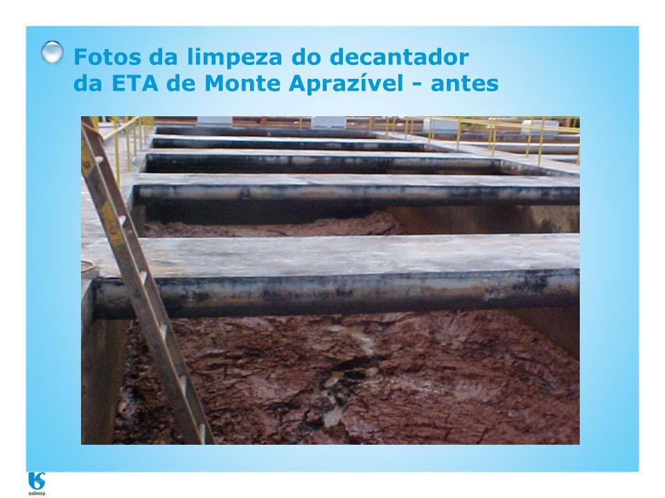 Fotos da limpeza do decantador da ETA de Monte Aprazível - antes
