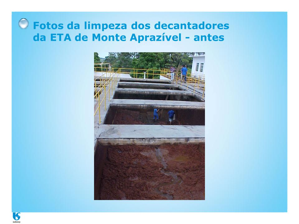 Fotos da limpeza dos decantadores da ETA de Monte Aprazível - antes