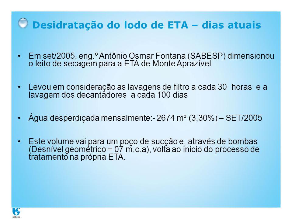 Desidratação do lodo de ETA – dias atuais