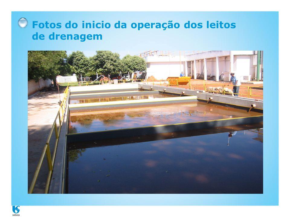 Fotos do inicio da operação dos leitos de drenagem