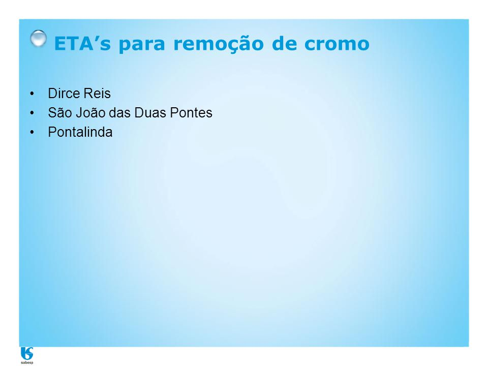 ETA's para remoção de cromo