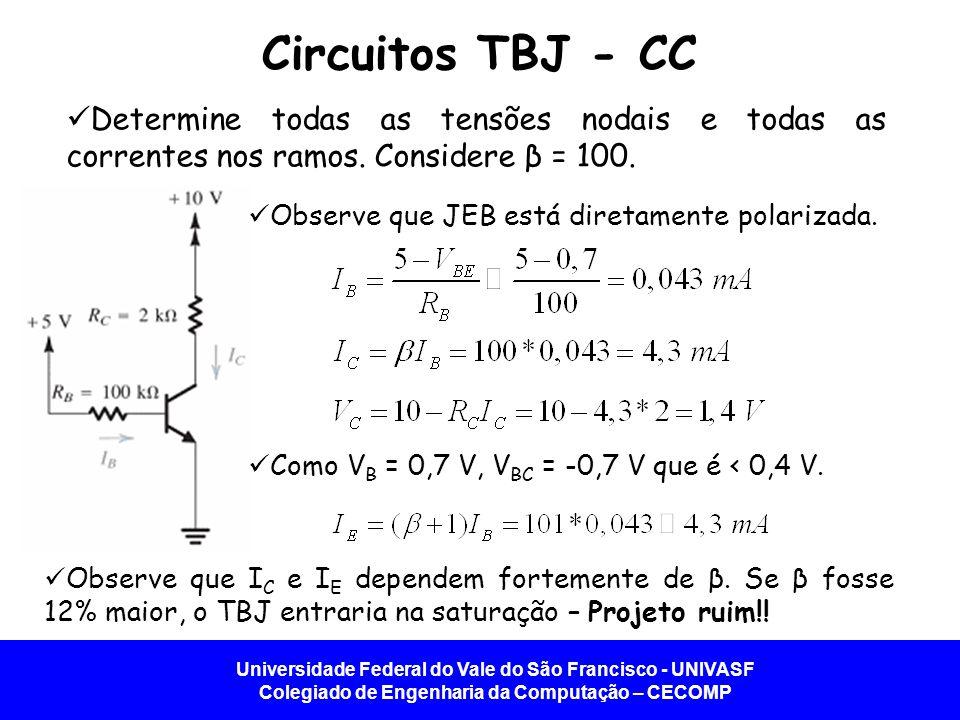 Circuitos TBJ - CC Determine todas as tensões nodais e todas as correntes nos ramos. Considere β = 100.