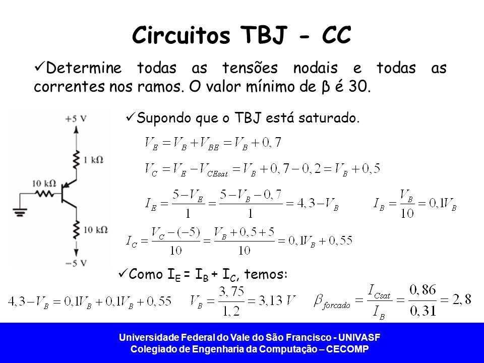 Circuitos TBJ - CC Determine todas as tensões nodais e todas as correntes nos ramos. O valor mínimo de β é 30.