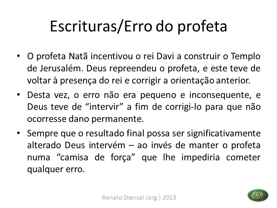 Escrituras/Erro do profeta