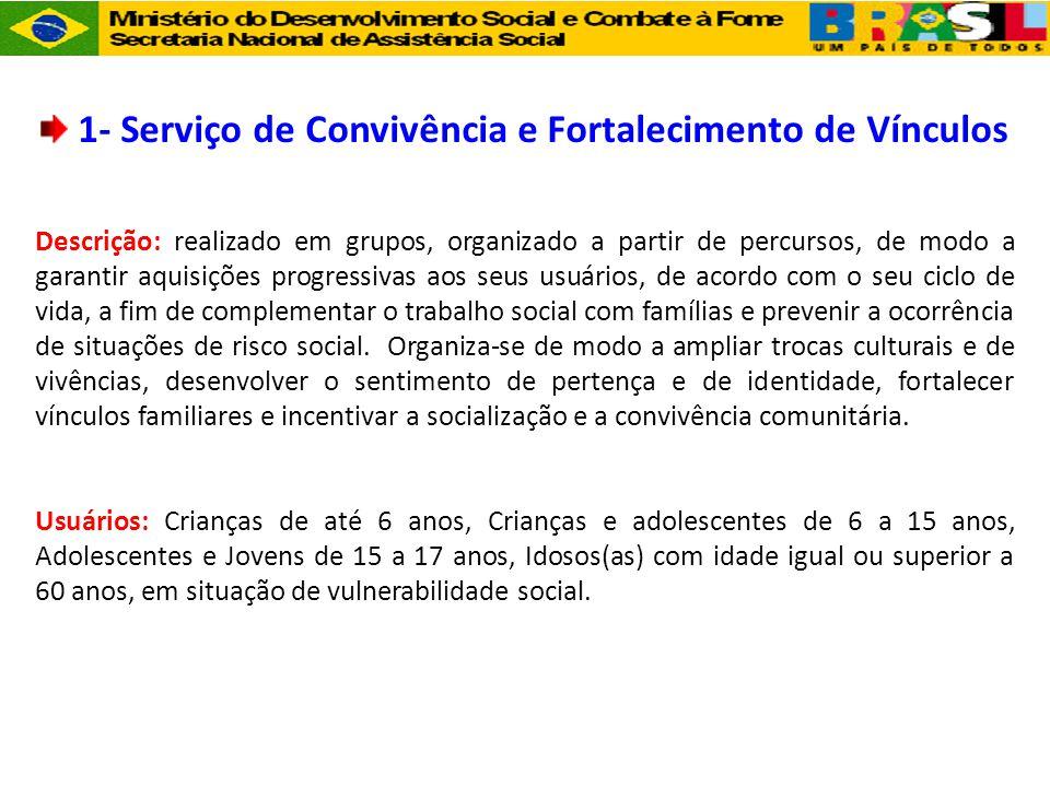 1- Serviço de Convivência e Fortalecimento de Vínculos