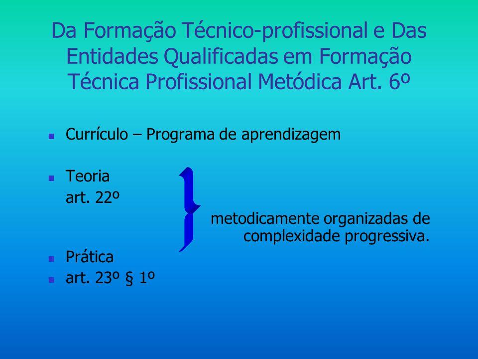 Da Formação Técnico-profissional e Das Entidades Qualificadas em Formação Técnica Profissional Metódica Art. 6º