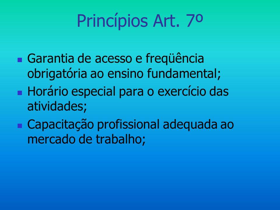 Princípios Art. 7º Garantia de acesso e freqüência obrigatória ao ensino fundamental; Horário especial para o exercício das atividades;