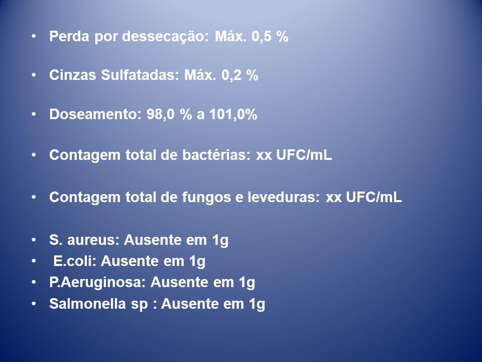 Perda por dessecação: Máx. 0,5 %