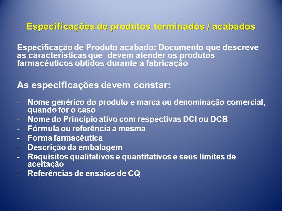 Especificações de produtos terminados / acabados