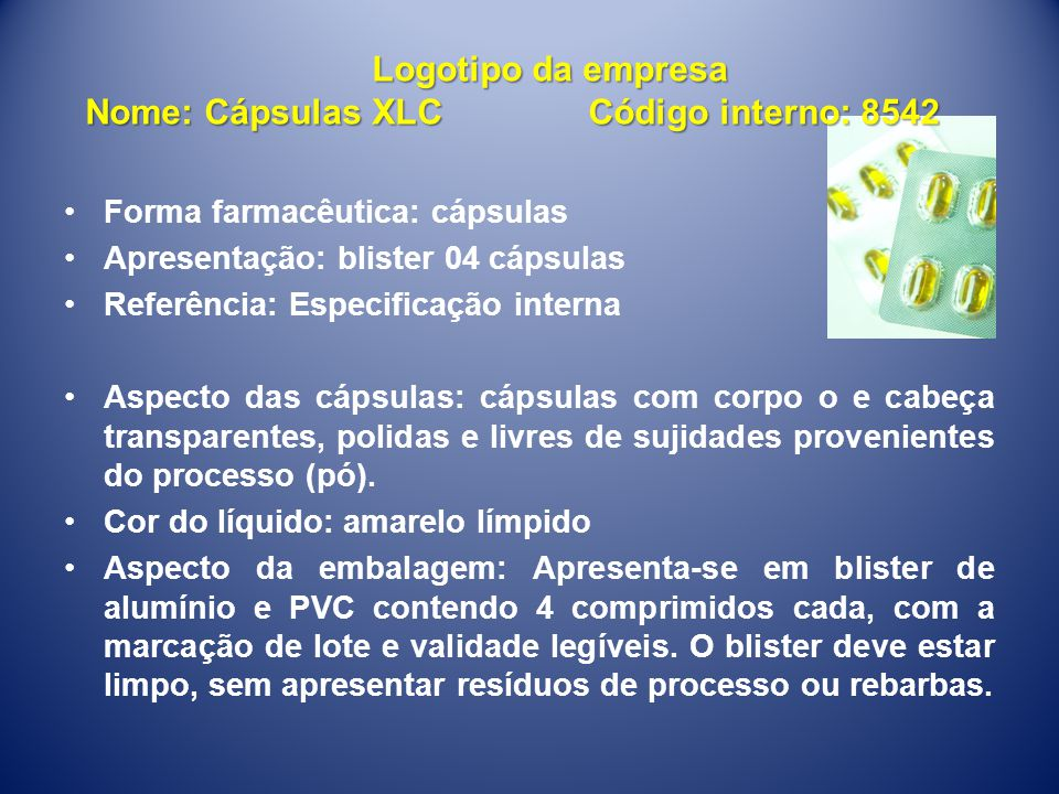 Nome: Cápsulas XLC Código interno: 8542