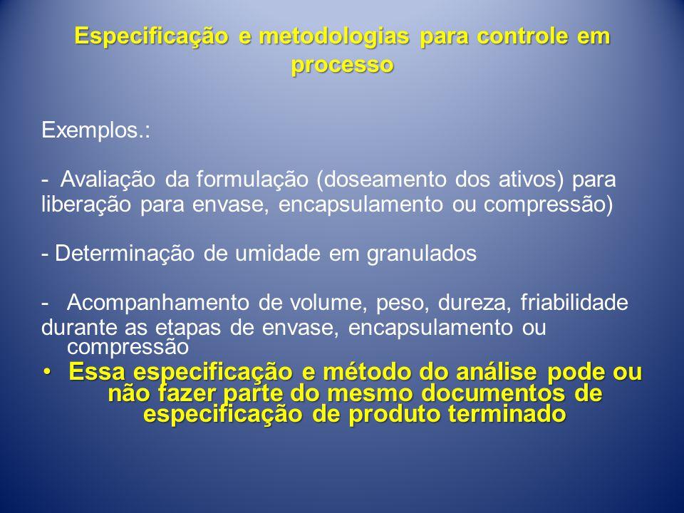 Especificação e metodologias para controle em processo