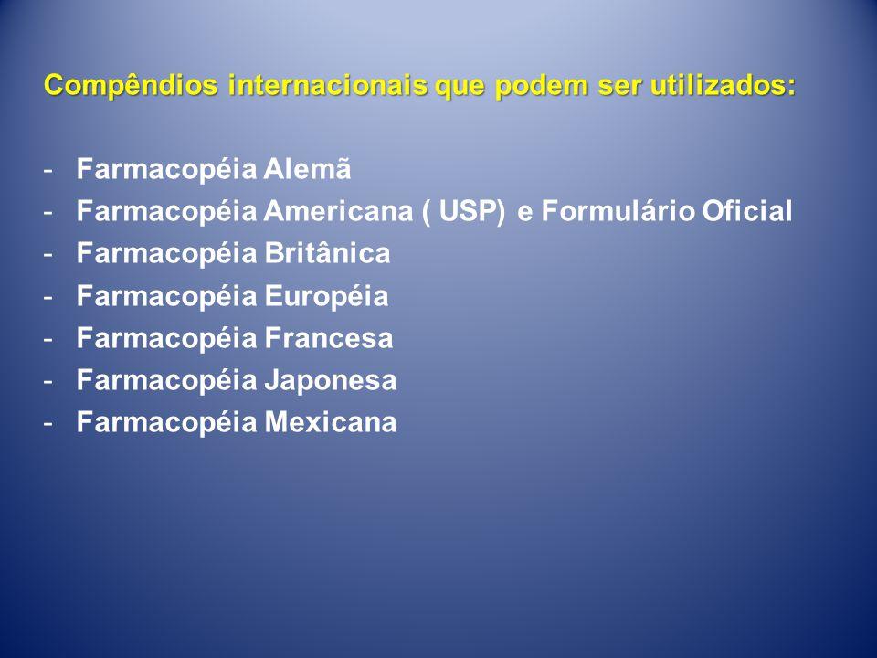 Compêndios internacionais que podem ser utilizados: