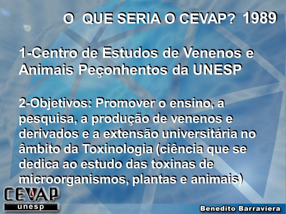 O QUE SERIA O CEVAP 1-Centro de Estudos de Venenos e Animais Peçonhentos da UNESP.
