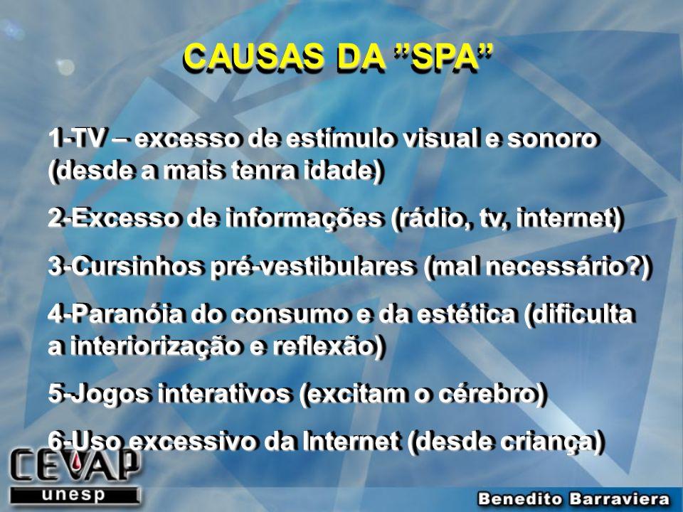 CAUSAS DA SPA 1-TV – excesso de estímulo visual e sonoro (desde a mais tenra idade) 2-Excesso de informações (rádio, tv, internet)
