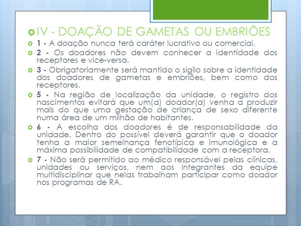 IV - DOAÇÃO DE GAMETAS OU EMBRIÕES