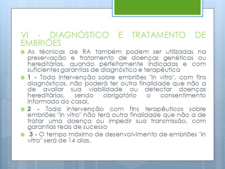 VI - DIAGNÓSTICO E TRATAMENTO DE EMBRIÕES