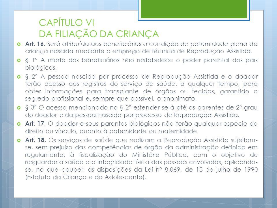 CAPÍTULO VI DA FILIAÇÃO DA CRIANÇA