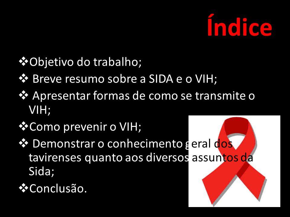 Índice Objetivo do trabalho; Breve resumo sobre a SIDA e o VIH;
