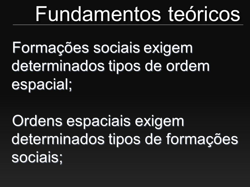 Fundamentos teóricos Formações sociais exigem determinados tipos de ordem espacial; Ordens espaciais exigem determinados tipos de formações sociais;